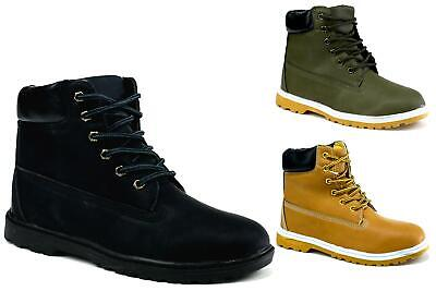 Womens Winter Ankle Boots Ladies Army Combat Flat Grip Sole  Shoes Size