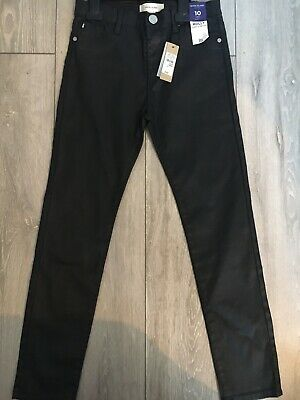Girls River Island Black Wet Look Trousers Age 10 Years