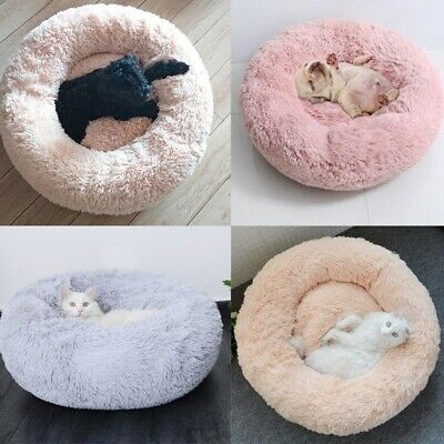 Donut Plush Pet Dog Cat Bed Fluffy Soft Warm Calming Bed Sleeping Kennel