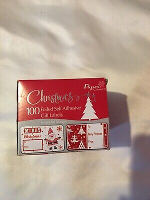 100 Foiled Self Adhesive Christmas Gift Labels By Paper Craft