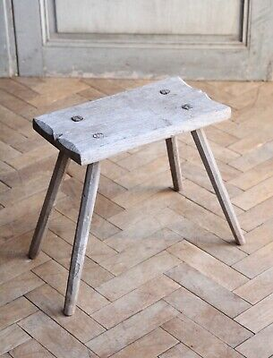 Vintage Rustic Folky Wooden Milking Stool Side Table