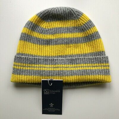 100% Pure Cashmere Bright Yellow Light Grey Beanie Hat Fisherman Knit Johnston's