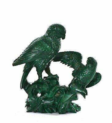 Old Chinese Malachite Carved Carving 2 Parrot Bird Group on Rock 982Gram - AS IS