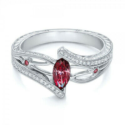 Charm 1.5ct  Jewelry Ruby Marquise Cut 925 Silver Wedding Bridal Ring Size6-10
