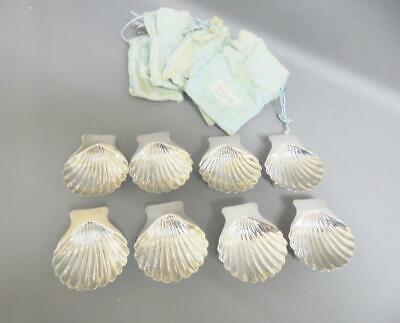 Sanborns Mexican SILVER Scallop Shells Butter Dishes 1960s 8 settings