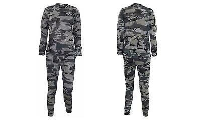Girls Camouflage Print 2-Piece Lounge Wear Tracksuit Jogging Bottoms Top 9/10 yr