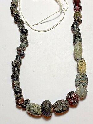 Perfect Roman Republic Glass Dark Beads Necklace Circa 300-100 Bc Rare