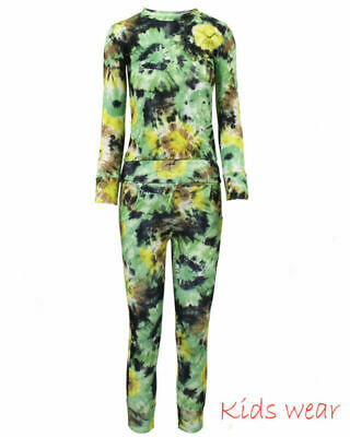 Girls FLORAL Print 2-Piece Lounge Wear Tracksuit Jogging Bottoms Top 11/12 years