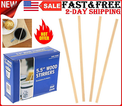 """1000 Count Wood Coffee Beverage Stirrers 5.5"""" Durable Strong Wooden Stirrers New"""