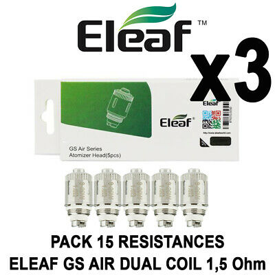 PACK 15 Résistances ELEAF GS AIR 1,5 OHM DUAL COIL - Certifié AUTHENTIQUE