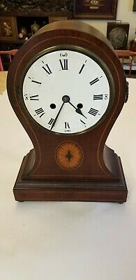 "Antique 17"" Balloon Clock 7"" Porcelain Dial Parts Or Repair"