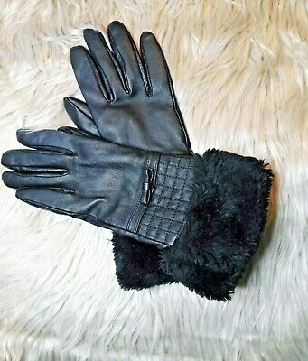 Ladies black leather gloves with faux fur trim, lined, size medium/large