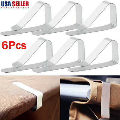 12Pc Stainless Steel Tablecloth Cover Clips Clamps Holder Party Picnic Supplies