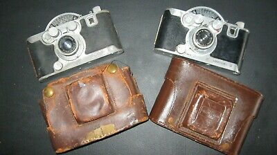 2 Vintage Mercury II Model CX Viewfinder Cameras 35mm Leather Cases