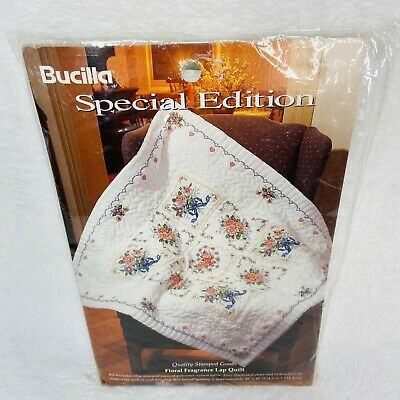 Bucilla Special Edition Stamped Lap Quilt Wall Hanging 64458 Floral Fragrance