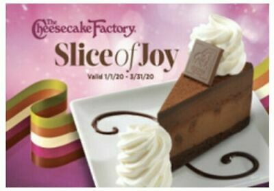 4 Cheesecake Factory Slice Of Joy Gift Card Ecertificate. Free shipping!