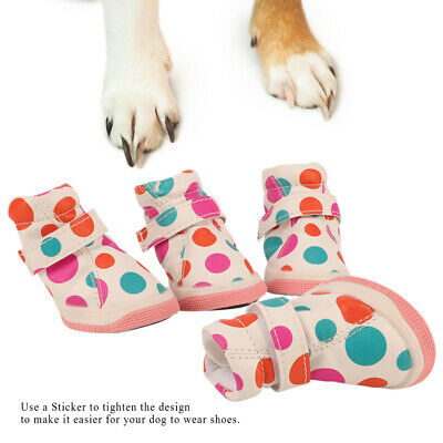 4pc Winter Warm Pet Dog Rain Boots Anti-Slip Puppy Shoes Protective Sock Booties