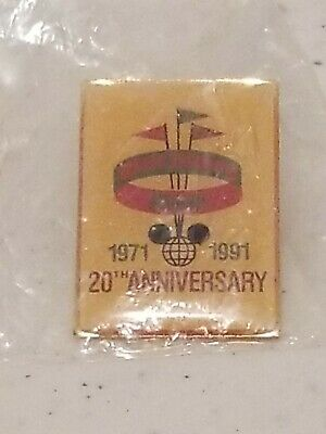 Disney Pin Walt Disney World 20th Anniversary 1971-1991 RARE Sealed