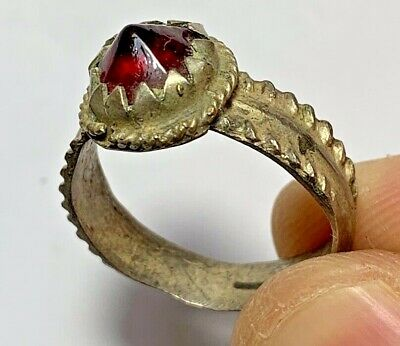 ANCIENT ROMAN SILVERED RING WITH VERY RARE RED STONE 5.3gr 31mm (inner 22mm)