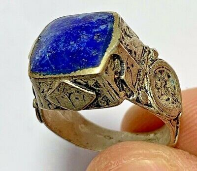 RARE MEDIEVAL SILVER RING - LAPIS LAZULI STONE INTAGLIO 7.5gr 28mm (INNER 20mm)