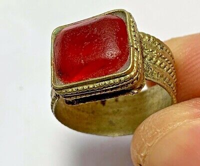 LATE MEDIEVAL SILVERED RING WITH RARE BRILLIANT STONE 4.4gr 25mm (inner 20mm)
