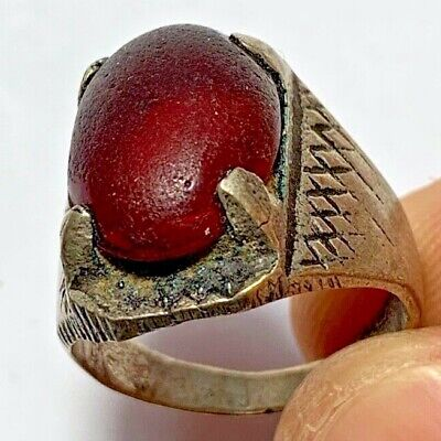 ANCIENT ROMAN SILVER RING WITH RARE RED STONE 9.3gr 30mm (inner 21mm)