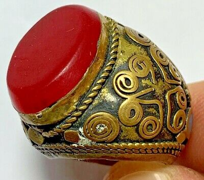 MASSIVE MEDIEVAL DECORATED INTAGLIO RING - RARE RED STONE 16gr 33mm (inner 19mm)