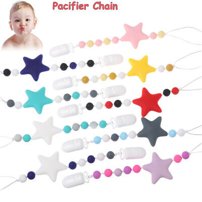 Chew Infant Non-toxic Cute Soother Pacifier Chain Dummy Clips Baby Teething