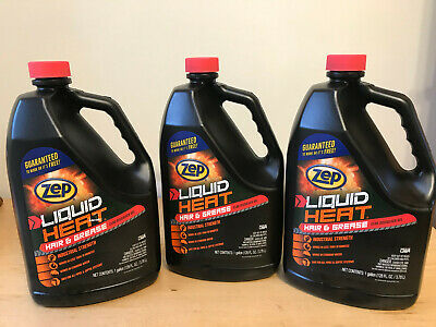 Lot of 3 Zep Industrial Strength Liquid Heat Hair & Grease Clog Dissolver 128 Fl