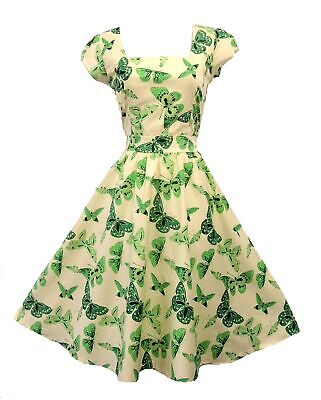 Vintage 1950s Stile Verde Crema Farfalla Rockabilly Pin-Up Festa Swing Abito
