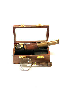 Nautical Set of Brass Telescope - Magnifying Glass - Compass In Wooden Box