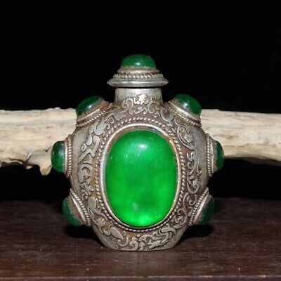 Old Chinese Collectable Miao Silver Carve Totem Inlay Jade Wealthy Snuff Bottle
