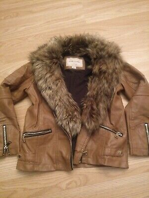 Classy Girls River Island Age 8 Brown Faux Leather Fur Collar Biker Jacket Age 8