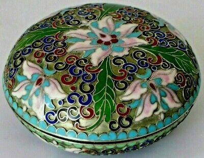 "Beautiful 4"" Antique Vtg Chinese Silver Cloisonne Enamel Lotus Floral Round Box"