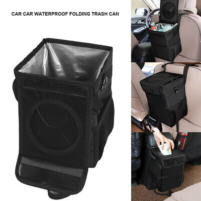 Collapsible Car Trash Can Waterproof Fabric Foldable Trash Bin Hanging Box Black