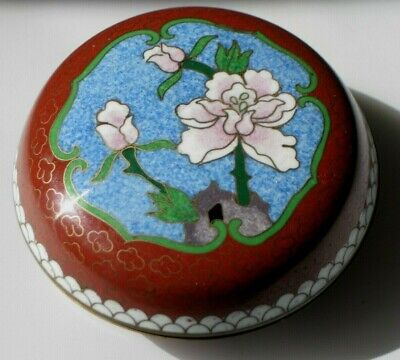 Vintage Chinese Cloisonne Enamel Brass Floral Round Lidded Box Tianjin China