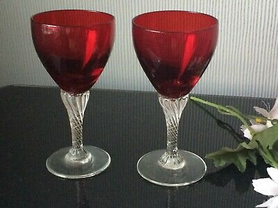 Cranberry Sherry Small Red Glasses Balloons Set of 2 Cups & Clear Twisted Stem