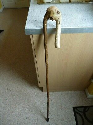 Handcarved old man character walking stick/staff 109cm long