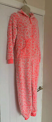 Marks & Spencer Older Girls Fleecey Pink Leopard Print One Piece Age 13-14 Years
