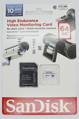 SanDisk 64GB Micro SD Card - Video Monitoring, High Endurance - With Adapter