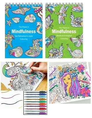 ADULT COLOURING BOOK SET Spiral Mindfulness Relaxing Anti-Stress 45 Patterns