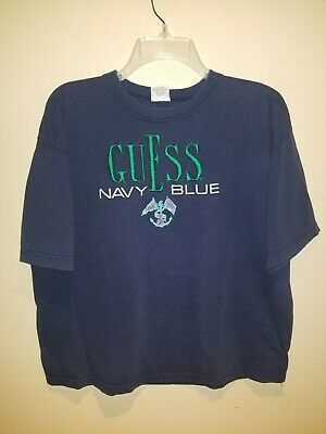 Vintage Guess Navy Blue 80s 90s T-Shirt Large USA Anchor Embroidered Boat