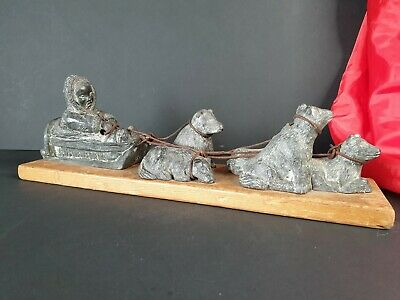 Old Canadian Eskimo Style Sled & Five Dogs Figurine on Wooden Base …beautiful