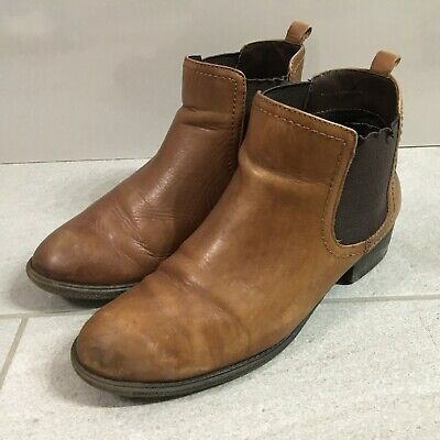 Marks and Spencer Chelsea Boots Brown Leather Womens Size UK 5 Wide Fit Casual