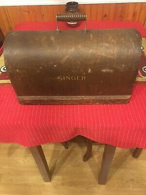 Antique Singer Wooden sewing Machine Cover w Bee Hive Style Wood Handle