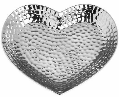 Silver Hammered Effect Heart Shaped Decorative Candle Tealight tray Fruit Bowl
