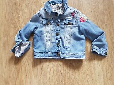 Girls Nutmeg Blue Distressed flowery  denim jacket.....age 3-4 months