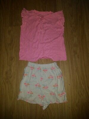 Girls Matalan Pink/white Flamingo short/t-shirt pjs.....age 4-5 years