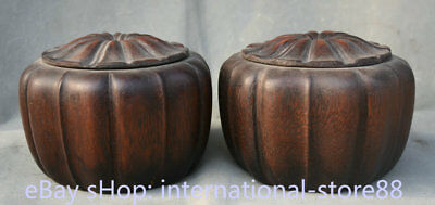 "6"" Old Chinese Dynasty Huanghuali Wood Hand Carved Pot Jar Chess Box Boxes Pair"