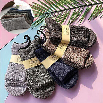 Men Sports Soft Cashmere Wool Winter Socks Solid Thick Warm 5 Pairs New Casual